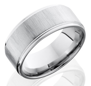 Men's Grooved Edge Crosscut Finish Cobalt Chrome Ring