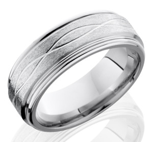Men's Grooved Edge Infinity Wave Cobalt Ring