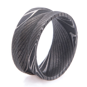 Men's Wide Concave Acid Finish Damascus Steel Ring