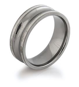 Concave and Silver Titanium Ring