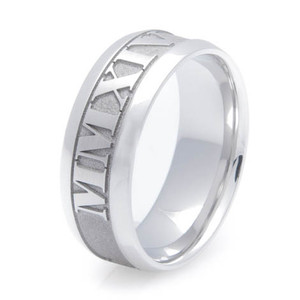 Men's Personalized Cobalt Roman Numerals Wedding Band