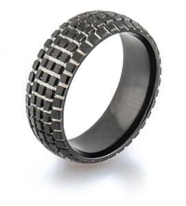 Men's Black Dirt Bike Wedding Ring