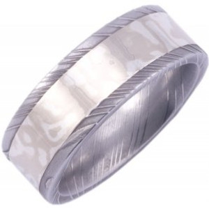 Men's Damascus Sterling Silver Ring with 14K White Mokume Gane Inlay