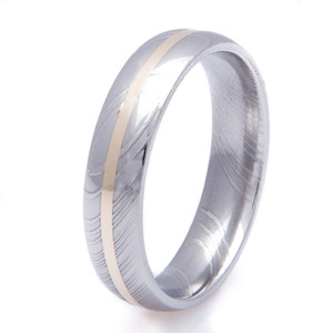 Men's Damascus Steel Ring with 14K Gold Inlay