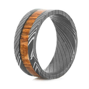 Men's Acid Finish Damascus Steel Ring with Leopard Hardwood Inlay