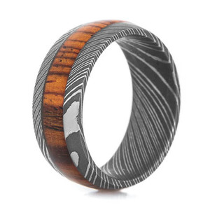 Men's Acid Finish Damascus Steel Ring with Cocobolo Hardwood Inlay