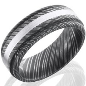 Men's Grooved Edge Acid Finish Damascus Steel Ring with White Gold