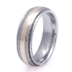 Men's Dome Profile Grooved Edge Damascus Steel Ring with 14K Gold Inlay