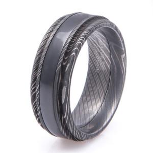 Men's Acid Finish Damascus Steel Ring with Black Zirconium Inlay