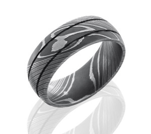 Men's Acid Finish Damascus Steel Ring with Dual Grooves