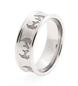 Men's Laser-Carved Titanium Antler Ring
