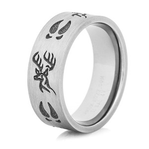 Titanium Deer Head and Tracks Ring