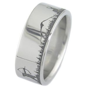 Men's Titanium Archery Deer Hunter Wedding Band