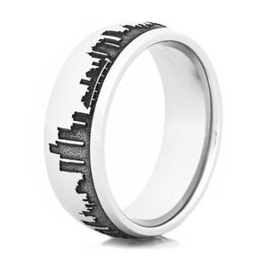Men's Cobalt Chrome Detroit Skyline Ring
