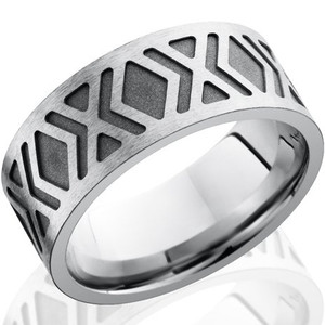 Men's Diamond Pattern Carved Cobalt Chrome Ring