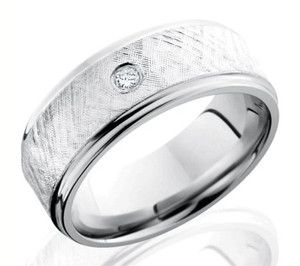 Diamond Cobalt Chrome Ring with Textured Finish