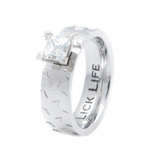 Diamond Plate Engagement Band