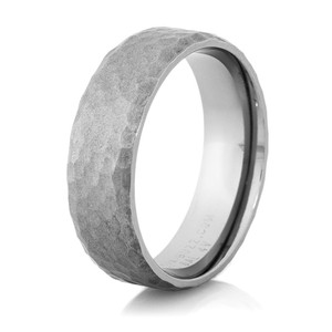 Men's Hammered Gunmetal Titanium Wedding Band
