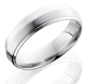 Men's Grooved Edge Cobalt Ring with Peaked Center