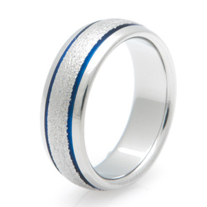 Grooved Blue Wedding Band with Frost Finish