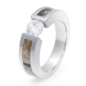 Tension Set Diamond Camo Ring