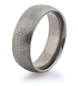 Simple Dome Profile Ring with a Stone Finish