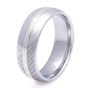 Men's Damascus Steel Ring with 14K White Gold Inlay