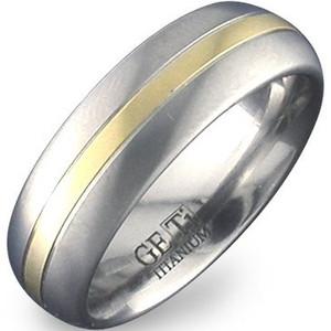 Gold Inlay Titanium Dome Band