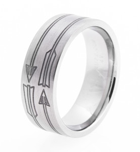 Men's Laser-Carved Titanium Arrow Ring