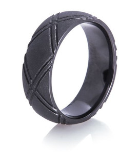 Crossed Up Matte Black Ring