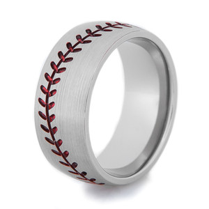 Men's Titanium Baseball Ring with Satin Finish, Color Stitching