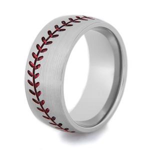 Men's Titanium Baseball Ring with Satin Finish, Color Stitching