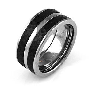 Men's Cobalt Empire Ring with Dual Hammered Black Zirconium Inlays