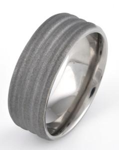 Men's Beveled Edge Grooved Titanium Sandblasted Ring