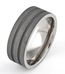 Men's Flat Profile Titanium Sandblasted Ring with Dual Grooves