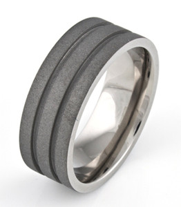 Men's Flat Profile Titanium Sandblasted Ring with Dual Grooves