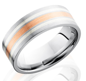 Men's Cobalt Band with Rose Gold and Dual Sterling Silver Inlays