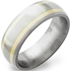 Satin Finish Titanium Band with Dual Gold Inlays