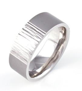 Men's Cobalt Tree Bark and Satin Ring