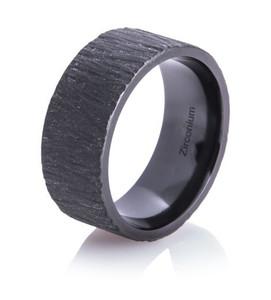 Men's Flat Black Tree Bark Wedding Ring