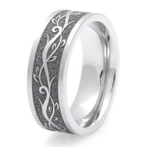 Men's Laser-Carved Titanium Vine Ring