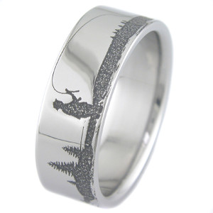 Men's Laser-Carved Titanium Fishing Ring