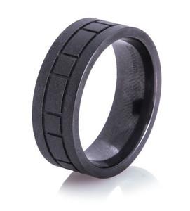 Box Pattern Black Matte Ring