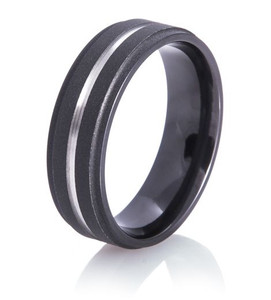 Flat Black Ring with Silver Inlay