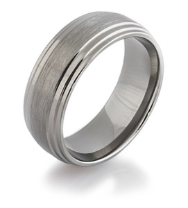 Flat Grooved Titanium Ring