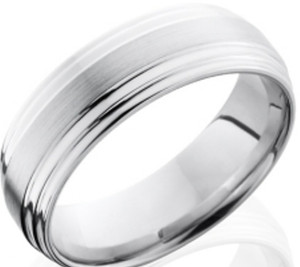 Men's Flat Grooved Cobalt Wedding Band