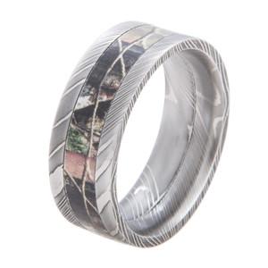 Flat Profile Damascus Steel Camo Ring
