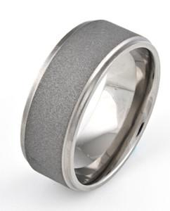Men's Flat Profile Grooved Edge Titanium Sandblasted Ring