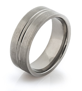 Titanium Flat Profile Band with Large Center Groove