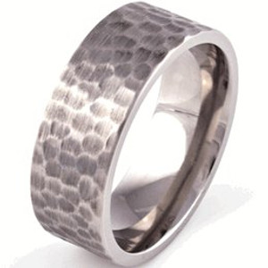 Flat Profile Hammered Ring